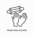 face mask and gloves flat line icon vector image vector image