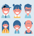 flat happy smiling people collection vector image