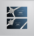 gift cards with silver bow and ribbon vector image vector image