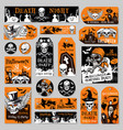 halloween tag and label fot holiday party design vector image vector image