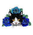 hand drawn portrait cat with floral head wreath vector image vector image