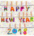 happy new year 2018 word hanging in clothes pegs vector image vector image