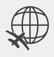 icon airplane flying around globe vector image vector image