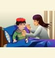 kid taking medicine vector image