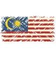 Malaysian grunge flag vector image vector image