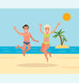 man and woman jumping on beach background vector image vector image