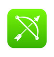 medieval bow and arrow icon green vector image vector image