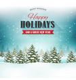 merry christmas landscape postcard vector image vector image