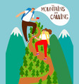 mountains climbing cartoon people vector image