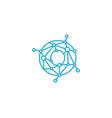 o letter connect dot network logo icon design vector image