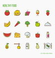 organic food thin line icons vector image
