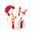 realistic detailed 3d party concept box gift vector image