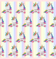 seamless pattern unicorns on a rainbow vector image vector image