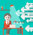 Secretary in Office with Arrows Retro Background vector image