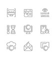 set line icons cyber security vector image
