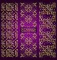 Set of golden lace pattern purple vector image
