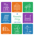 set of renewable energy line icons vector image