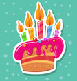 sticker with birthday cake and candles vector image vector image