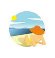 summer beach girl relaxing activity scenery design vector image vector image