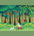 summer forest and animals vector image