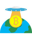 the ufo with bitcoin over the globe vector image vector image