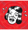Vintage Clipart woman having fun and laughing vector image