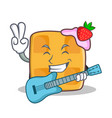 Waffle character cartoon design with guitar vector image