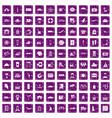 100 luggage icons set grunge purple vector image vector image