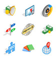 banking protection icons set isometric style vector image vector image