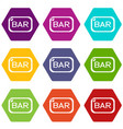 bar board icons set 9 vector image vector image