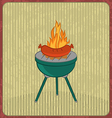 Barbecue card with sausage and flame vector image vector image