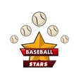 baseball stars logotype design with small balls vector image vector image