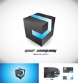 Black cube blue stripe 3d logo icon design vector image vector image
