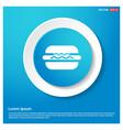 burger icon abstract blue web sticker button vector image