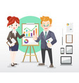 businessman and woman with gadgets vector image vector image