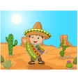 Cartoon a Mexican boy waving hand vector image vector image