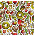 cartoon cute hand drawn xmas seamless pattern vector image vector image