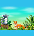 cartoon different animal in the park vector image vector image