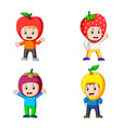 collection of the cute boys using the fruits vector image vector image