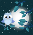 colorful tree with cute owl cartoon bird in moon vector image vector image