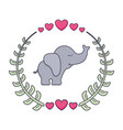 cute and little elephant with wreath and hearts vector image vector image