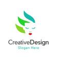 face beauty naturally creative business logo vector image vector image