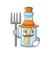 farmer message in bottle isolated with cartoon vector image vector image