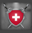 flag of switzerland the shield with national vector image