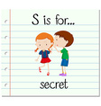 Flashcard letter S is for secret vector image vector image