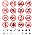 forbidden signs set vector image vector image