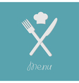 Fork knife and chef hat on the top Menu card Flat vector image vector image