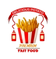 French fries fast food fried potato icon vector image