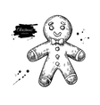 gingerbread man decorated with icing hand drawn vector image