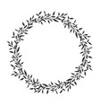 hand drawn floral oval frame wreath on white vector image vector image